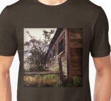 Distressed Barn with Barbwire Windows Unisex T-Shirt