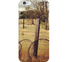 Barbwire Fence Line Outlining Fields of Gold iPhone Case/Skin