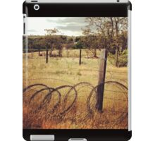 Barbwire Fence Line Outlining Fields of Gold iPad Case/Skin