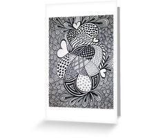 Retro Love Zentangle Style Greeting Card