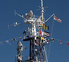 Radio Mast of HMS Belfast by Chris Day
