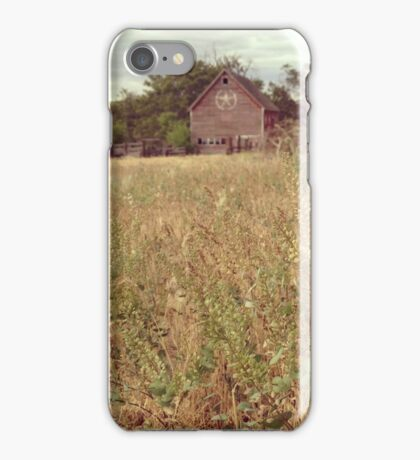 Fields of Pouporie with a Distressed Red Barn in the Distance  iPhone Case/Skin