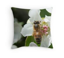Bee with pollen on the blossom Throw Pillow