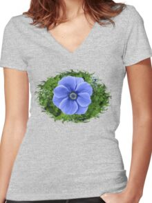 Indigo Anemone ~ A Cool Beauty Women's Fitted V-Neck T-Shirt