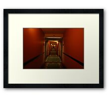 11:13pm.  red hallway. green hotel. Framed Print