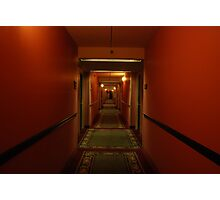 11:13pm.  red hallway. green hotel. Photographic Print