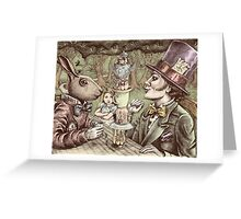 alice at the mad tea party Greeting Card