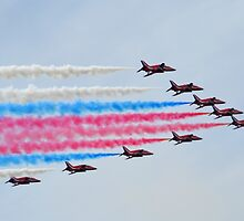 Red Arrows Over Lyme, Dorset.UK by lynn carter