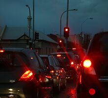 Adelaide traffic - rush hour on a rainy night by Joanne Emery