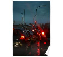 Adelaide traffic - rush hour on a rainy night Poster