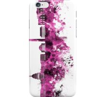 Washington DC skyline in pink watercolor on white background  iPhone Case/Skin
