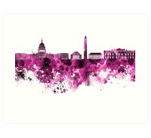 Washington DC skyline in pink watercolor on white background  Art Print
