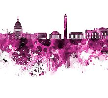 Washington DC skyline in pink watercolor on white background  by paulrommer