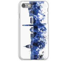 Washington DC skyline in blue watercolor on white background  iPhone Case/Skin