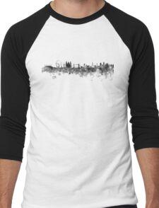 London skyline in black watercolor on white background Men's Baseball ¾ T-Shirt