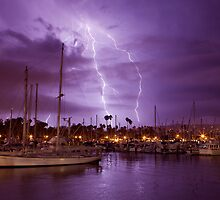 Lightning Behind Santa Barbara Harbor by David Orias