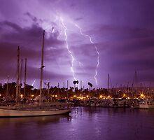 Lightning Behind Santa Barbara Harbor by David Orias