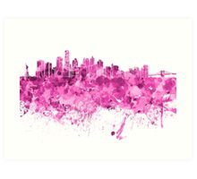 New York skyline in pink watercolor on white background Art Print