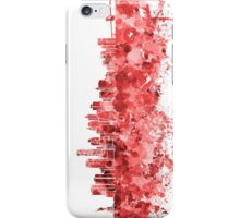 New York skyline in red watercolor on white background iPhone Case/Skin