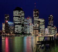 Brisbane City by Night by Helen Martikainen