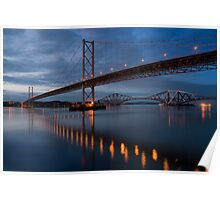 The Forth Bridges at dusk Poster