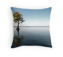 Alone, Blue Cypress Lake Experience (Color Version) Throw Pillow
