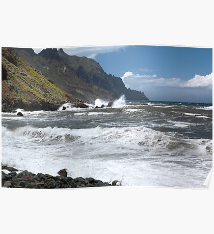 Rocky Atlantic ocean coastline Tenerife Poster