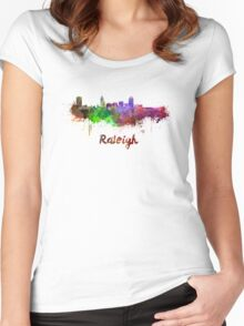 Raleigh skyline in watercolor Women's Fitted Scoop T-Shirt