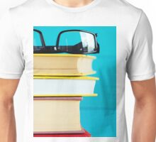 Black glasses and old books.  Unisex T-Shirt