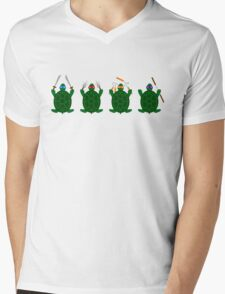 Mini Turtels Mens V-Neck T-Shirt