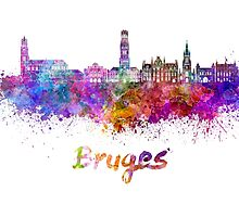 Bruges skyline in watercolor by paulrommer