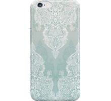 Lace & Shadows - soft sage grey & white Moroccan doodle iPhone Case/Skin