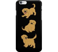 Golden Retriever Puppy Pattern - Black iPhone Case/Skin