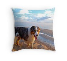 Odin and Cezanne Blue walk Lake Michigan Throw Pillow