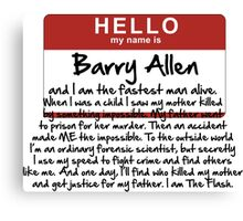 My name is Barry Allen – Season One Canvas Print