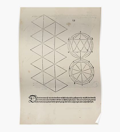 Measurement With Compass Line Leveling Albrecht Dürer or Durer 1525 0144 Repeating and Folding Shapes Poster
