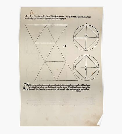 Measurement With Compass Line Leveling Albrecht Dürer or Durer 1525 0143 Repeating and Folding Shapes Poster
