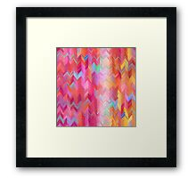 Colorful painted chevron pattern Framed Print