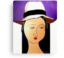 Girl with straw hat Canvas Print