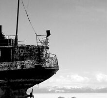 MONOCHROME - Rusted Hulk, Lake Baikal, Listvyanka by Brad Spencer