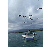 Galapagos Fisherman and Frigid Birds Photographic Print