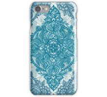 Teal & White Lace Pencil Doodle iPhone Case/Skin
