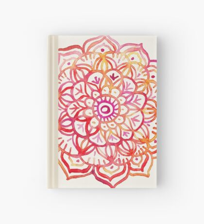 Watercolor Medallion in Sunset Colors Hardcover Journal