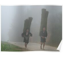 Sapa, Vietnam - Hmong couple in the mist. Poster