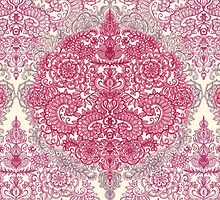 Happy Place Doodle in Berry Pink, Cream & Mauve by micklyn
