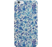 Floating Garden - a watercolor pattern in blue iPhone Case/Skin