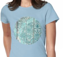 Teal & Aqua Botanical Doodle on Weathered Wood Womens Fitted T-Shirt