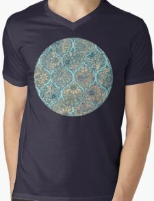 Moroccan Floral Lattice Arrangement - aqua / teal T-Shirt
