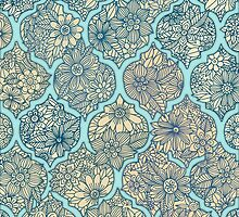 Moroccan Floral Lattice Arrangement - aqua / teal by micklyn