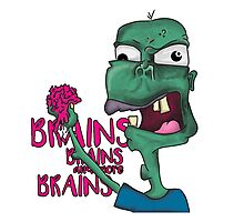 Brains! - Zombie Design - Brains, Brains and more Brains! Photographic Print
